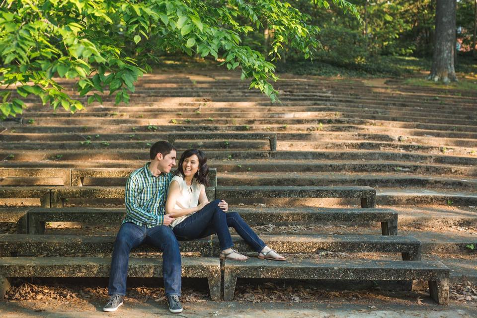 Diana Weigel '11 met her husband sophomore year moving into Marshall Hall. This shot of them in the Amphitheatre was among their engagement photos.