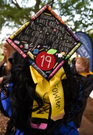 Ashley Fowler from Fredericksburg shows off her decorated mortarboard.