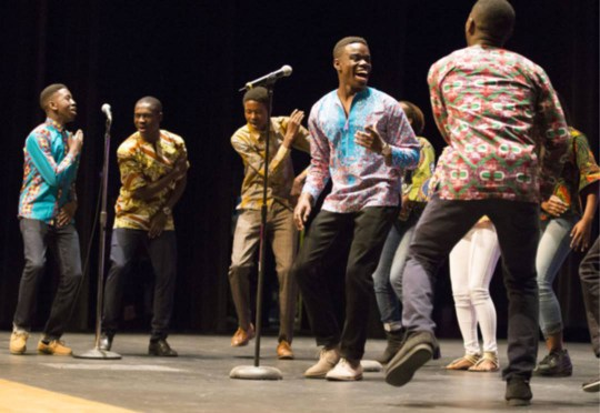 Members of the UBUMWE Burundian Youth Choir perform at the community-wide Martin Luther King Jr. Day Celebration at James Monroe High School in Fredericksburg. The organization was founded by Nehemia Abel, who received the 2020 Grace Mann Launch Award.