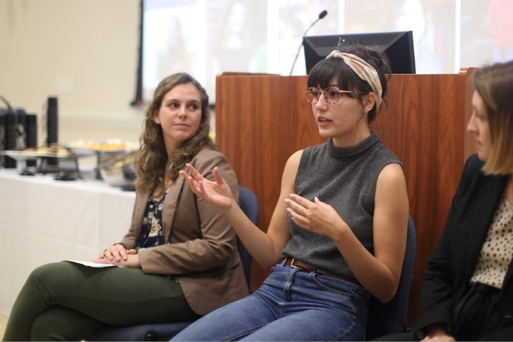 Senior Sophie Mestas (center) talked about her experiences as a Women's and Gender Studies major. Alumnae Paige McKinsey and Sam Carter also shared how the program prepared them for their current careers. Photo by Karen Pearlman.