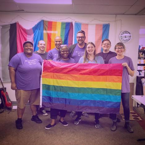 Side by Side Executive Director Ted Lewis with colleagues and volunteers celebrating Spirit Week in 2018. Lewis also held two of the first-ever LGBTQ+ leadership positions at UNC Charlotte and University of Richmond. Photo courtesy of Ted Lewis.