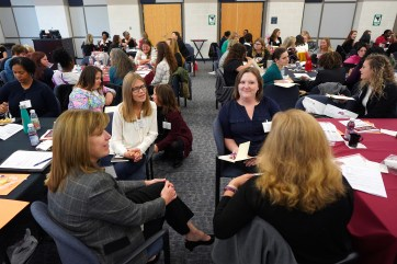 More than 100 women came together for the 26th annual Women's Leadership Colloquium @UMW, featuring breakout sessions, networking opportunities and one-on-one career coaching sessions. Photo by Suzanne Carr Rossi.