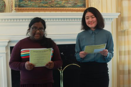 First-year Tanima Mullah (left) and Japanese Outreach Coordinator Minae Uehara read haikus in Japanese and English. Photo by Karen Pearlman.