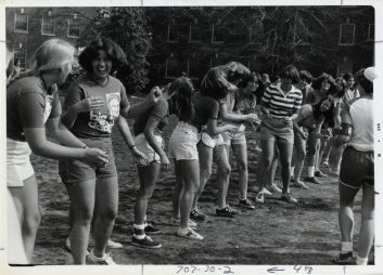 Students participate in games during Devil Goat Day in 1979. Photo courtesy of Simpson Library Special Collections.