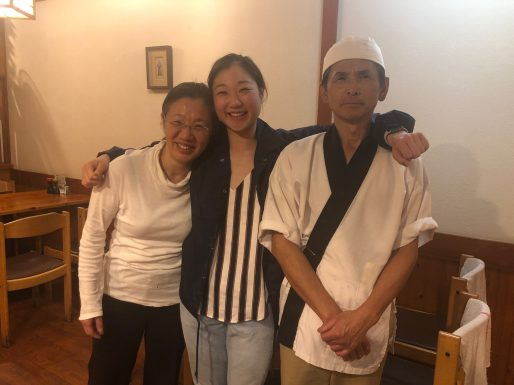 Mirai Nagasu (center) with her parents at Sushi Kiyosuzu in Los Angeles. The traditional mom-and-pop Japanese restaurant received a boost from the Power of 10 initiative and now its cooks are preparing meals for essential workers. Photo Credit: Mirai Nagasu.