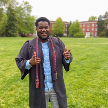 """I'll miss all of the friends that have become my family and the professors who impacted my education,"" said 2020 graduate Jeremiah Ward, who sung with and directed Voices of Praise and served as a UMW campus guide for the Office of Admissions."