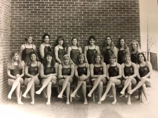 Shepherd (front row, fourth from right) with the Mary Washington 1990-91 women's swim team. A competitive distance swimmer, Shepherd set the CAC record for the 500 freestyle during her freshman and sophomore years.