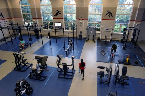 Students must reserve a time to use UMW's Fitness Center and wear a mask during their workout. Equipment is spread out for social distancing and sanitized between uses. Photo by Suzanne Carr Rossi.