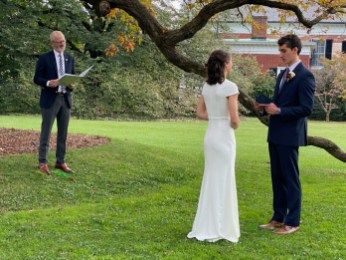 "UMW President Troy Paino made a guest-appearance at the socially distanced November wedding. Deale wrote him to request he officiate, and he said ""yes!"""