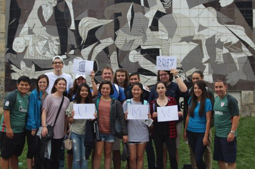 "Thomas Peterson (back row, fourth from left) with his UMW classmates in front of a replica of Picasso's ""Guernica"" in Guernica, Spain, while attending the Universidad de Deusto in Bilbao in 2017."