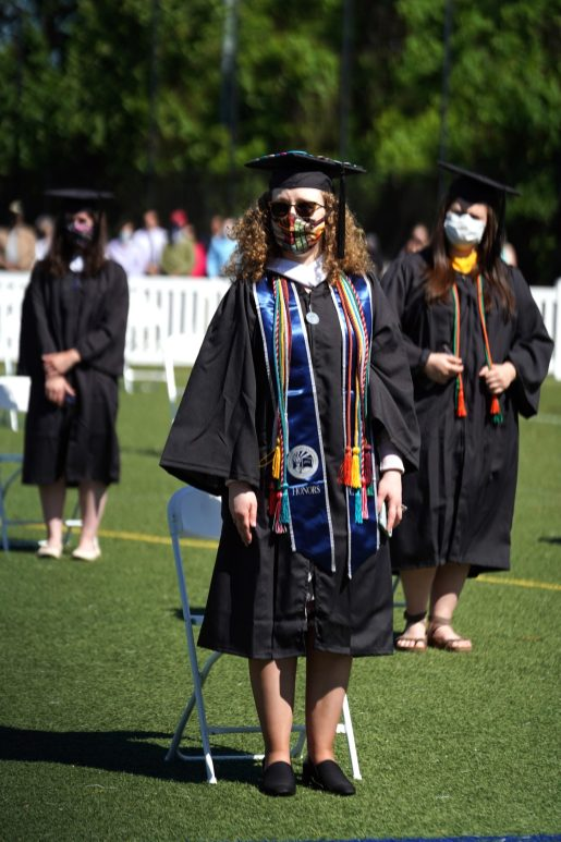 Colorful cords and masks were on full display at UMW's Class of 2020 Commencement ceremonies. Photo by Suzanne Carr Rossi.