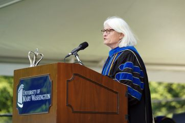 Provost Nina Mikhalevsky takes the podium during one of three Commencement ceremonies for the Class of 2020. Photo by Suzanne Carr Rossi.