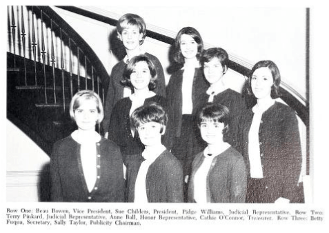 Cathie O'Connor Woteki (second row, far right) served as treasurer of her sophomore class at Mary Washington. Photo Credit: Special Collections and University Archives, Battlefield Yearbook, 1967.