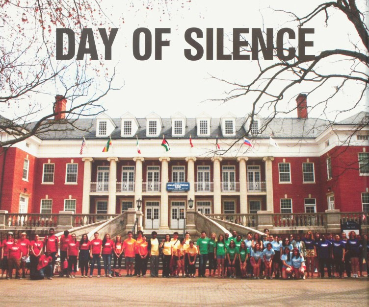 Members of the Mary Washington community take part in Day of Silence, a worldwide student-led demonstration in which participants take a vow of silence in protest of discrimination and harrassment against the LGBTQ community. Photo courtesy of UMW Libraries' Special Collections and University Archives.