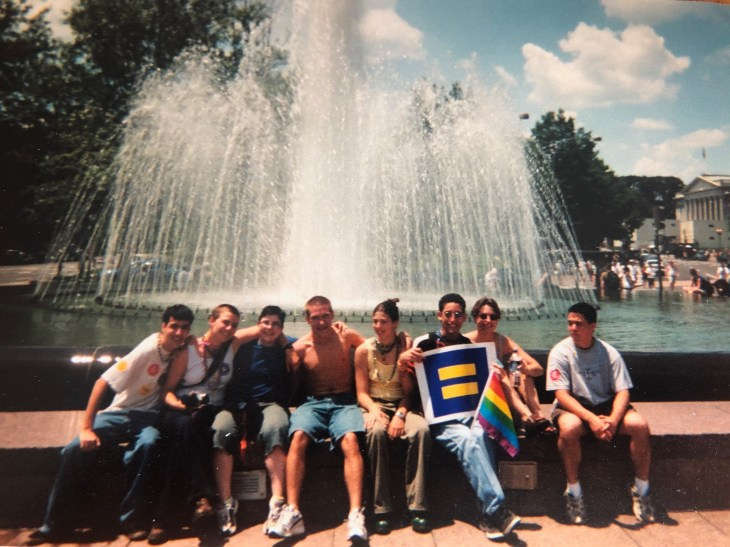 Mary Washington students and friends at Pride Week in D.C. in 2002. In this photo: Nathan Figueroa '04, Elizabeth Elzer '05, Robin Farmer, Ron Farmer, Sarah Wentz '02, Lauren Taylor '02 and Stuart Lam '02. Photo courtesy of Mark Thaden.