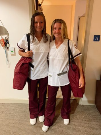 Roommates Katherine Brady and Abigail Zimmerman dressed in their scrubs for the first time. UMW nursing students in the 1+2+1 program live together as a cohort on the UMW campus and complete an RN degree and clinicals at Germanna, in addition to their BSN coursework through Mary Washington. Photo courtesy of Abigail Zimmerman.