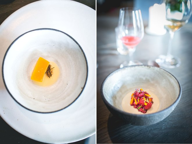 Pumpkin dessert and next to that raspberries, double cream and rye dessert at Noma, Copenhagen | un-fold-ed.com