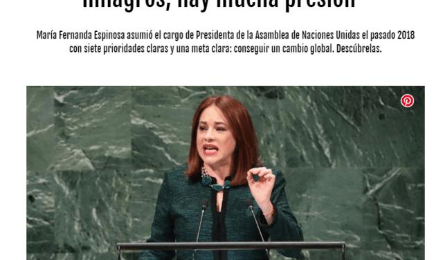 María Fernanda Espinosa, Presidenta de la Asamblea General habla con Marie Claire Spain
