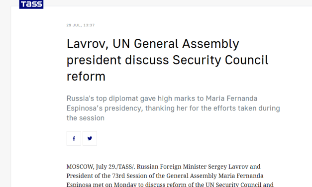 Lavrov, UN General Assembly president discuss Security Council reform