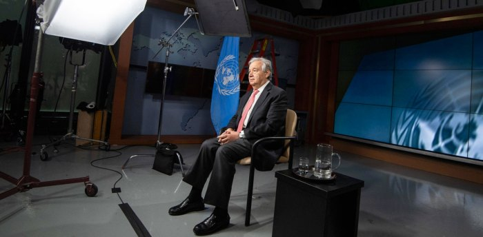 Secretary-General António Guterres records a video message on the effect of the COVID-19 pandemic on children. UN Photo/Eskinder Debebe