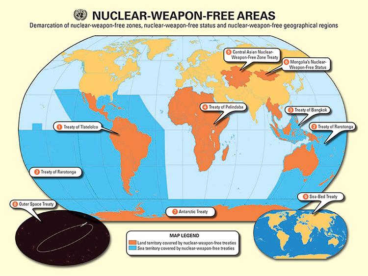 nuclear weapon free areas map - Energía atómica o nuclear