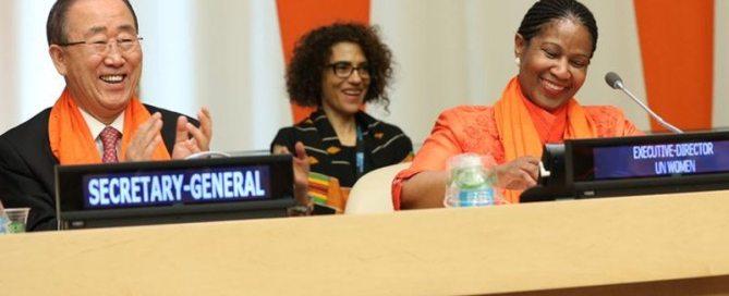 الأمين العام بان كي مون والمديرة التنفيذية لهيئة الأمم المتحدة للمرأة