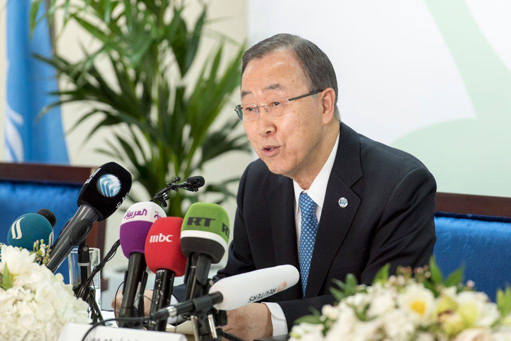 الأمين العام أثناء إطلاق تقرير تمويل الأعمال الانسانية في دبي