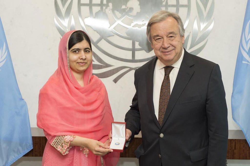 الأمين العام ومالالا يوسف زاي UN Photo/Eskinder Debebe