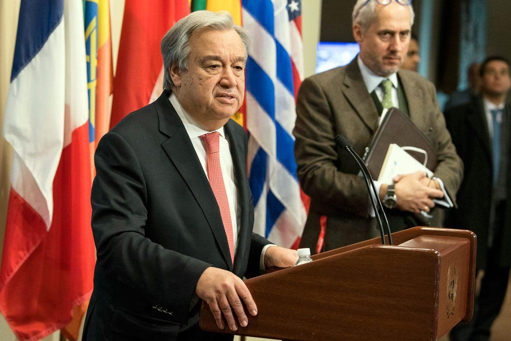 الأمين العام يتحدث للصحفيين - الصورة: الأمم المتحدة