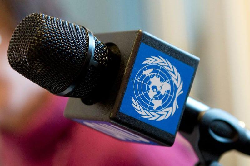 Un primer plano de un micrófono de radio de las Naciones Unidas en Ginebra, en el Día Mundial de la Radio 2014  (13 de febrero)