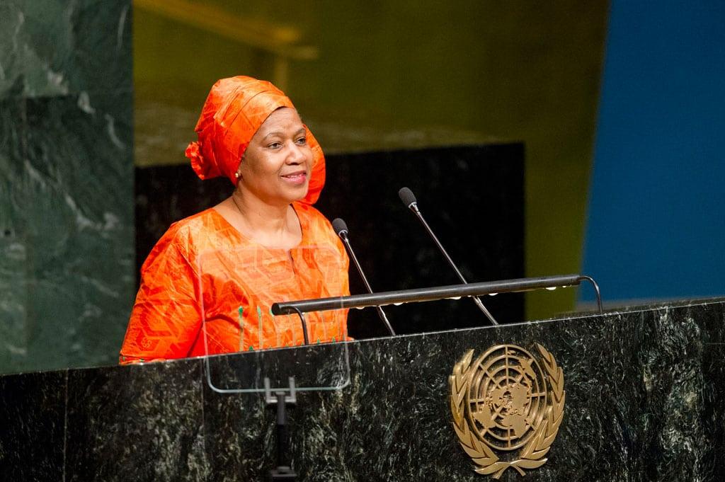 La directora ejecutiva de ONU Mujeres, Phumzile Mlambo-Ngcuka, durante la apertura de la 61 sesión de la Comisión de la Condición Jurídica y Social de la Mujer. Foto: ONU/Rick Bajornas