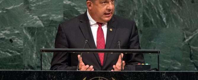 Luis Guillermo Solís, presidente de Costa Rica, en la Asamblea General de la ONU. Foto: ONU/Cia Pak