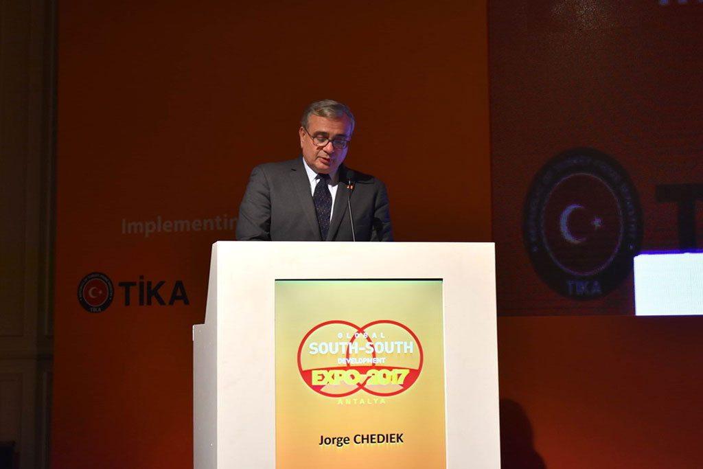 Jorge Chediek, director de UNOSSC, durante la ceremonia de clausura de la Exposición Mundial de Desarrollo Sur-Sur. Foto: Noticias ONU / Laura Quiñones
