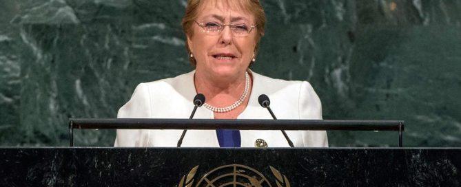 La presidenta de Chile, Michelle Bachelet, en la Asamblea General de la ONU. Foto: ONU/Cia Pak