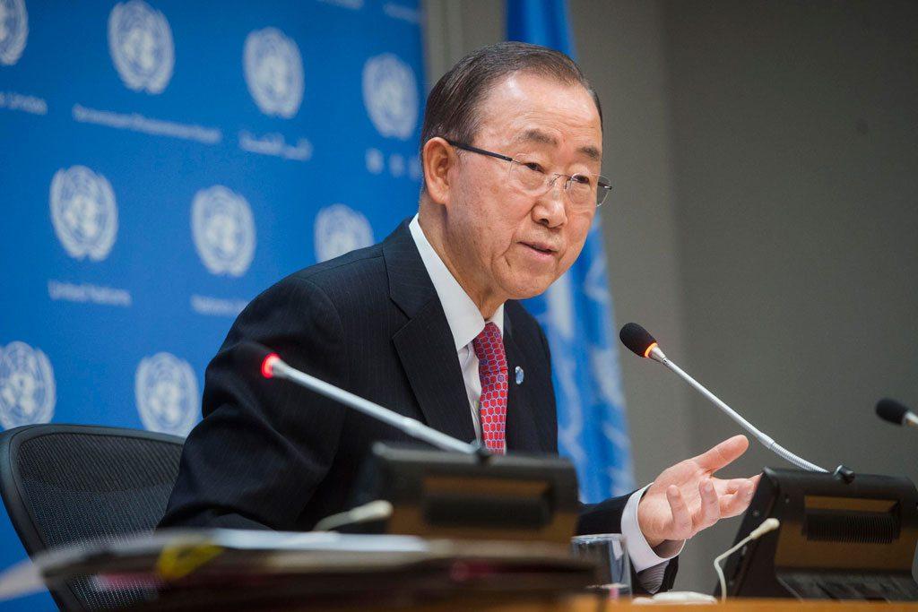 Ban Ki-moon lors de sa conférence de presse de fin d'année.