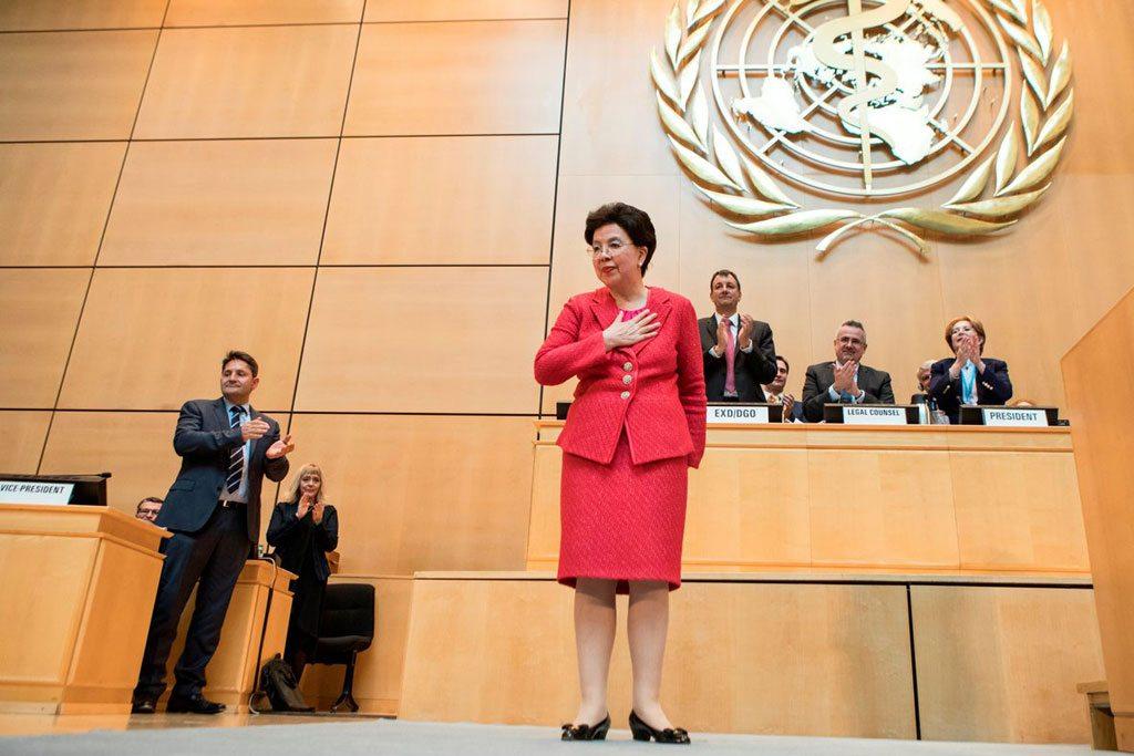 Lors de la 70e Assemblée mondiale de la Santé à Genève, Margaret Chan fait sa dernière apparition en tant que Directrice générale de l'Organisation mondiale de la santé (OMS). Photo OMS