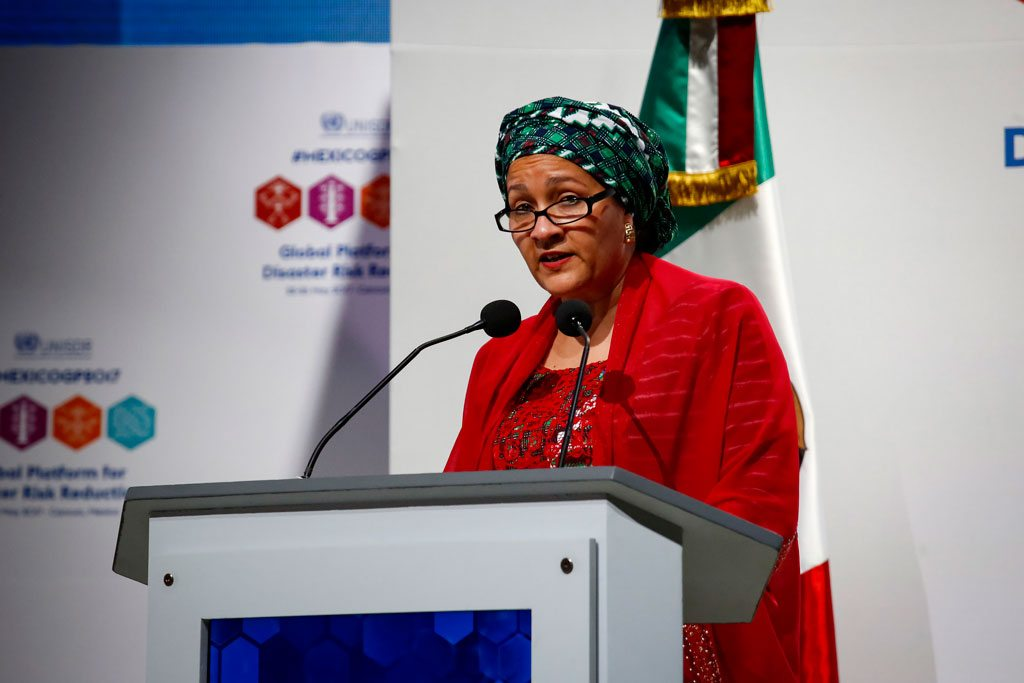 La Vice-Secrétaire générale de l'ONU, Amina Mohammed, à la réunion de la Plateforme mondiale pour la réduction des risques de catastrophes à Cancun, au Mexique. Photo UNISDR