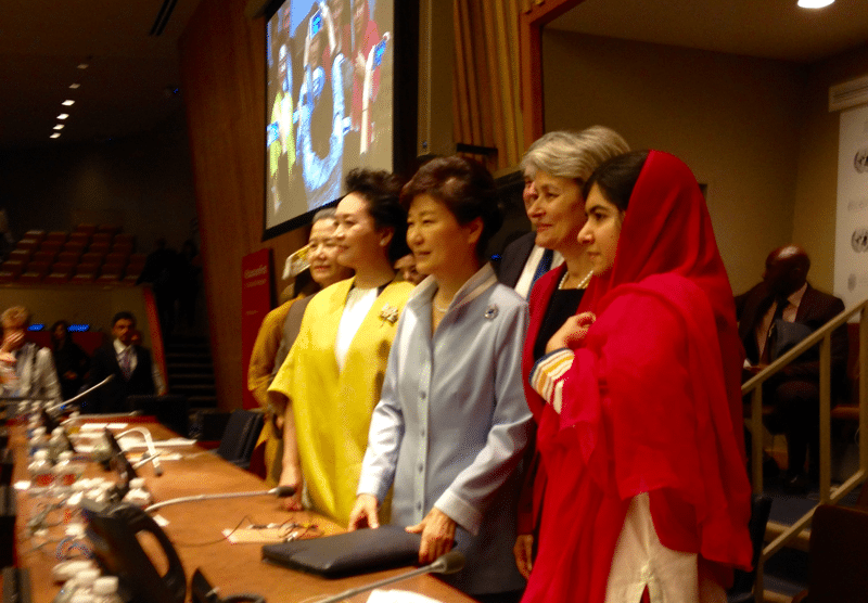 Education First High Level event:  (from the left): Mrs. Ban, HE Peng Liyuan, First Lady of the People's Republic of China, President of the Republic of Korea Park Geun-hye, Director-General of UNESCO, Irina Bokova, and Nobel Peace Prize Laureate Malala Yusufzai.