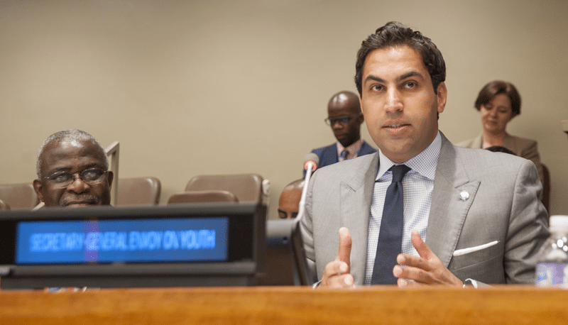 "Ahmad Alhendawi, Secretary-General's Special Envoy on Youth, speaks during an event on ""Mobilizing Generation Zero Hunger"". The event was co-organized by the Permanent Mission of Ireland, the Office of the Envoy of the Secretary-General on Youth, the Food and Agriculture Organization of the United Nations (FAO), the International Fund for Agricultural Development (IFAD) and the World Food Programme (WFP). UN Photo/Cia Pak"