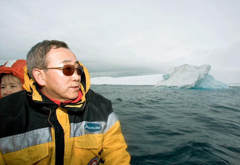 Photo: Mr. Ban looks out at the sea in Antarctica.