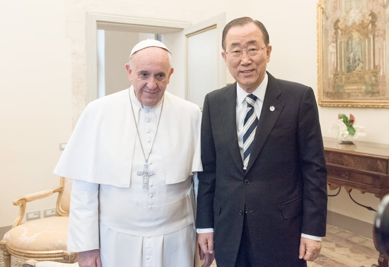 Photo: The Secretary-General meets with His Holiness Pope Francis at the Vatican.