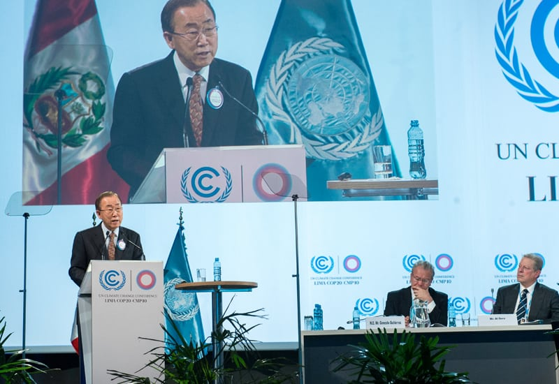 Photo: Mr. Ban addresses the COP20 in Lima.