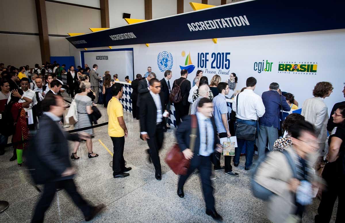 Photo: Participants attend the Internet Governance Forum in Joao Pessoa, Brazil.