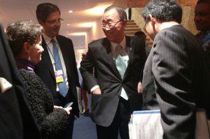 Photo: Ban Ki-moon meets COP21 participants at Le Bourget.