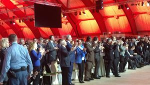 Photo: Participants at the COP21 in Paris celebrate the adopted agreement on 12 December.