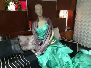 Photo: A dress made of sustainable materials is on display at the COP21 in Paris on 1 December.
