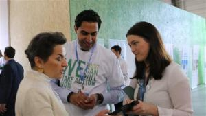 Photo: UNFCCC chief Christiana Figueres speaks to associates at Youth Day at #COP21 in Paris.