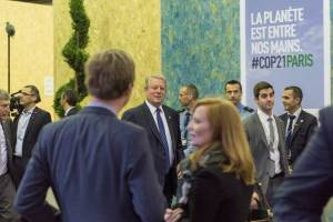 Photo: Al Gore, Former Vice President of the United States, arrives at a COP21 event on 10 December.
