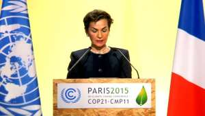 Photo: UNFCCC Executive Secretary Christiana Figueres addresses the COP21 audience on 1 December.