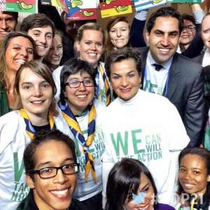 Photo: UNFCCC chief Christiana Figueres meets young people at Youth Day at #COP21 in Paris.